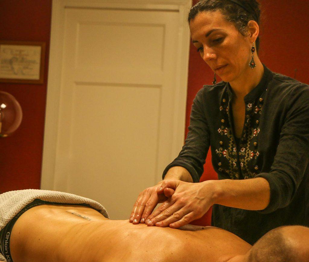 massage réflexe du dos